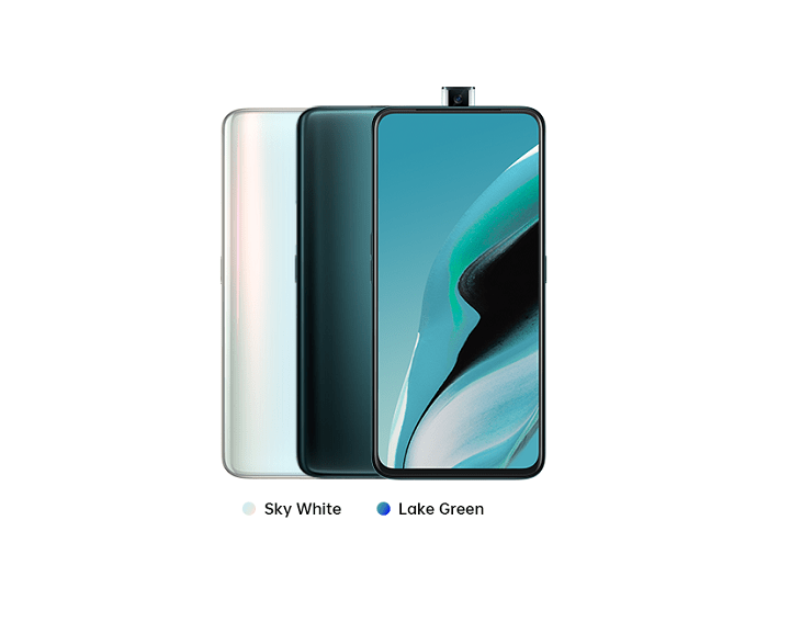 Oppo Reno 2F sky white dan lake green