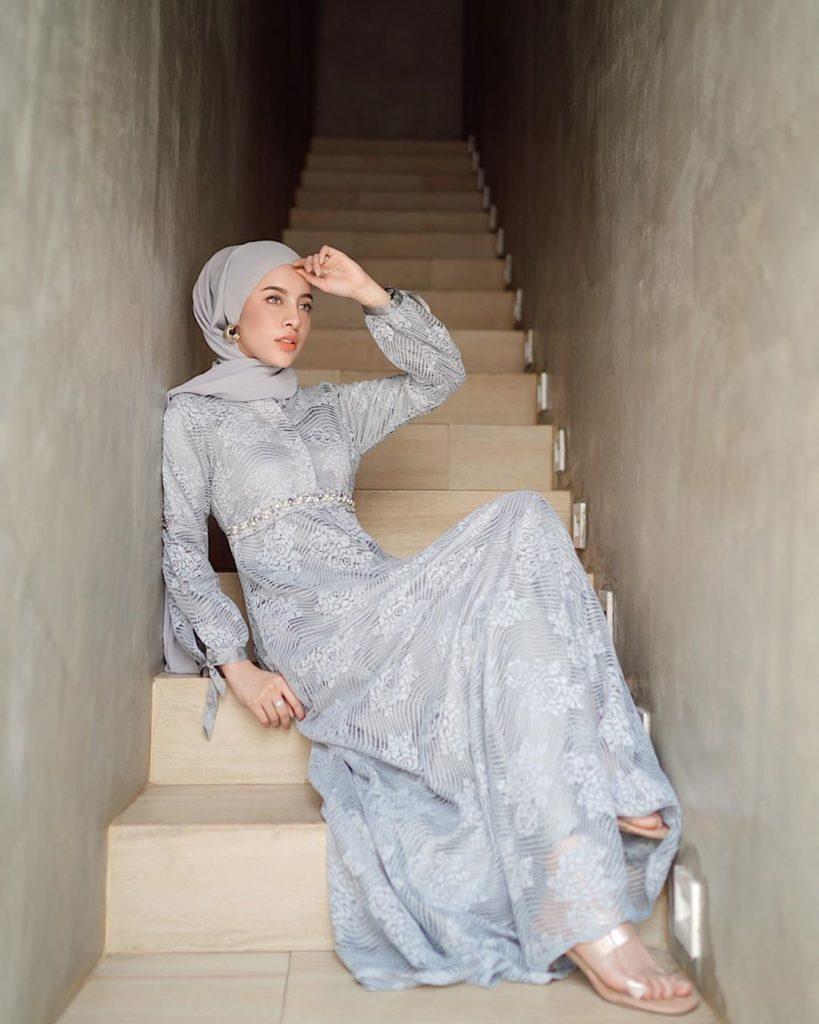 gamis aghnia punjabi muslim influencer shopee barokah