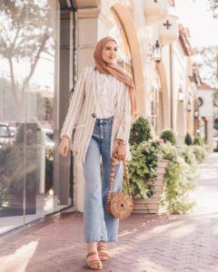 striped blazer shopee pakaian kantor muslimah