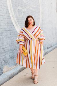 OOTD Dress bergaris dengan ukuran plus size