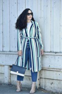 Outfit garis untuk pemilik tubuh gemuk dan berisi