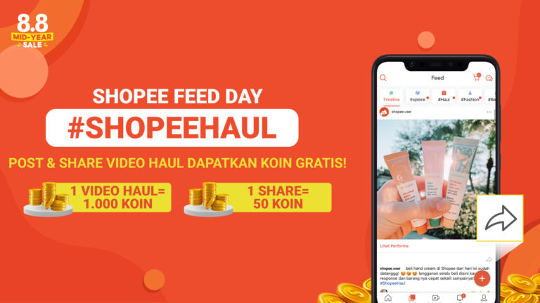 Shopee Feed Day Kembali Lagi! Post Video Shopee Haul-mu dan Dapatkan Koin Gratis!