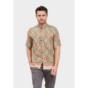 Hem Batik Tenun Ikat Orange Adikusuma pakaian muslim pria